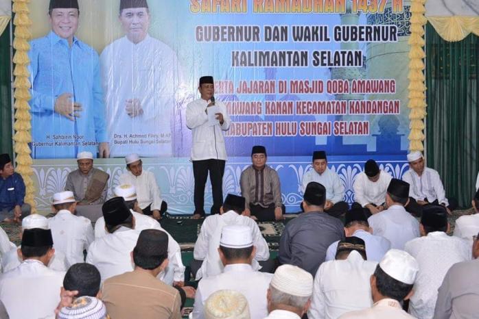 Safari Ramadhan 1437 H Gubernur Kalsel di Kabupaten Hulu Sungai Selatan
