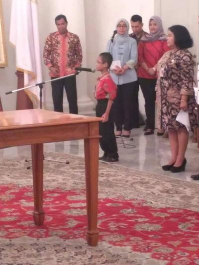 Anak Disabilitas Netra tampilkan Puisi di depan Plt. Gubernur DKI