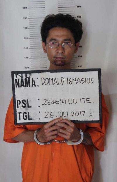 Donald Ignatius Suyanto, Pengunggah Ujaran Kebencian di Medsos Diamankan Aparat Kepolisian