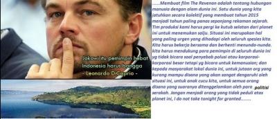 Pesan Leonardo di Caprio buat Pak Jokowi