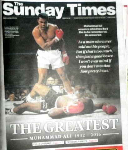 Kisah Muhammad Ali ,5 Halaman di The Sunday Times