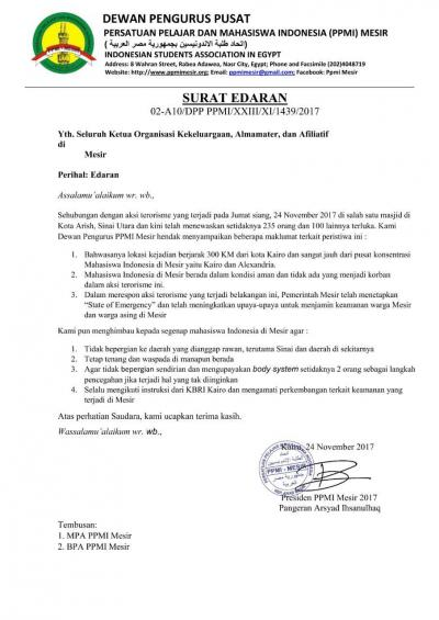 Bom Meledak di Sinai,  PPMI Mesir: Mahasiswa Indonesia Aman