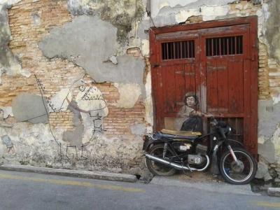 Mural di Dinding Kota Tua Penang,  Amat Artistik