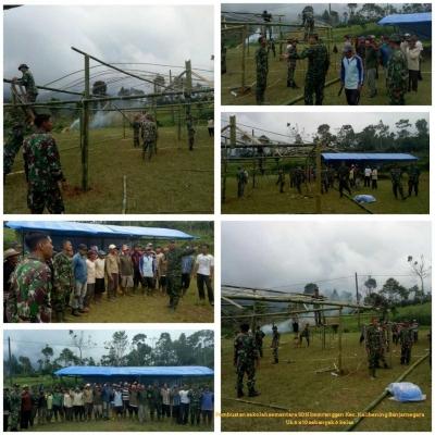 TNI sebagai Garda Terdepan Bangun Sekolah Sementara