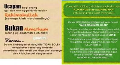 Almarhum Salah, Yang Benar Rohimahullahu?