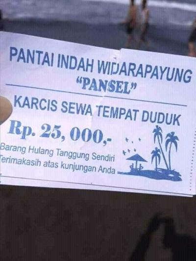 Viral, Duduk di Obyek Wisata Widarapayung Cilacap Rp 25.000