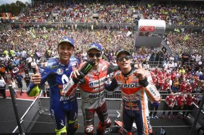 Lorenzo, Marquez dan Rossi, Tiga Tim Berbeda di Podium MotoGP Catalunya