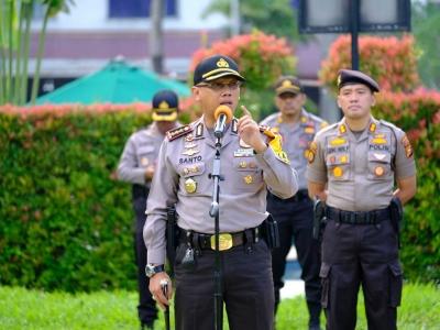 Kapolresta Pekanbaru Pimpin Apel Persiapan Pengamanan Pleno Pilkada Gubernur Riau