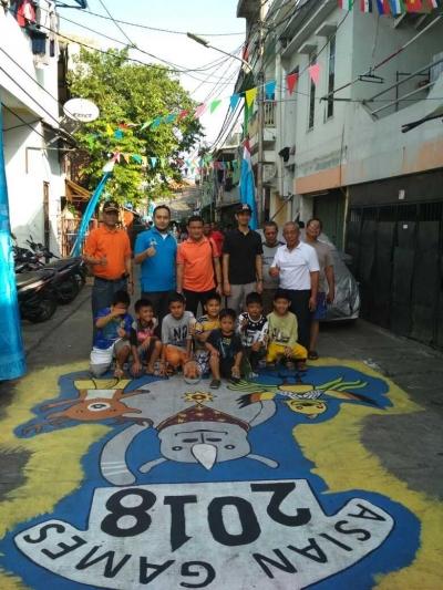 Camat Palmerah Beri Apresiasi Pemuda dan Karang Taruna Jati Pulo atas Mural Asian Games 2018