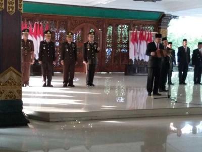 Kasdim 0815 Hadiri Pengukuhan Paskibra Kabupaten Mojokerto
