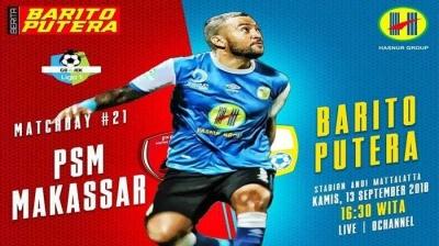 Barito Putera Imbangi PSM Makassar di Stadion Andi Matalata