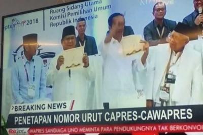 Jokowi-Ma'ruf Amin Nomor Urut Satu, Prabowo-Sandiaga Nomor Urut Dua