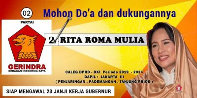 Rita Roma Mulia, Caleg DPRD DKI Jakarta, Siap Kawal 23 Janji Kerja Gubernur