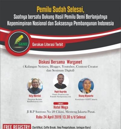 Pemilu Sudah Selesai, Komunitas GESIT Ajak Warganet Dukung Hasil Pemilu Secara Konstitusional Tanpa Hoaks