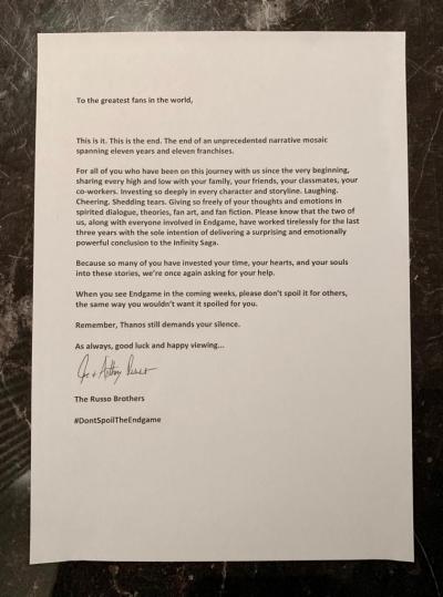 Surat Terbuka dari Sutradara Avengers Supaya Jangan Spoiler