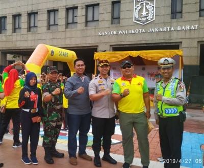 Harmonisnya Tiga Pilar, Danramil 07/KB Bersama Camat Kembangan & Kapolsek Kembangan Hadiri Pelangi Run 5K Jakarta Barat