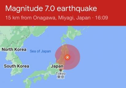 Gempa Jepang M 7,2 di Miyagi, Sabtu 20 Maret 2021