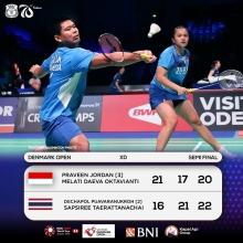 Gambar Artikel Praveen Jordan dan Melati Deava Oktavianti Gagal Merebut Tiket Final Denmark Open 2021