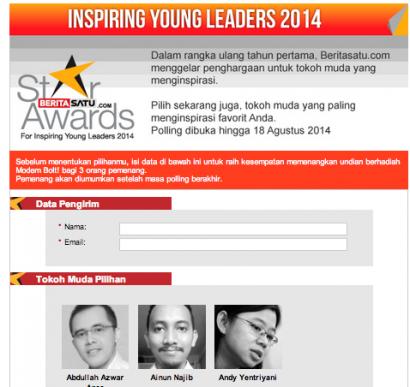 Vote untuk Ainun Najib, Penggagas kawalpemilu.Org sebagai Inspiring Young Leader 2014…