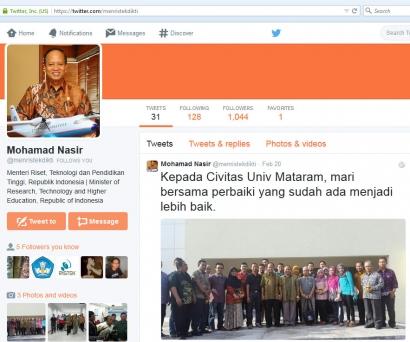 Baru 2 hari, Twitter Menristekdikti Ramai Dibicarakan Publik